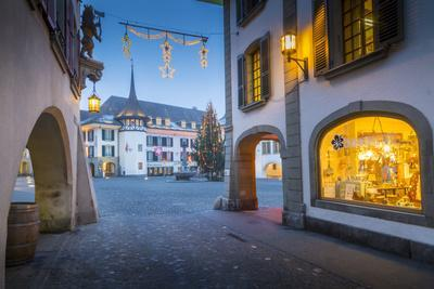 Christmas Tree in Rathausplatz, Thun, Jungfrau region, Bernese Oberland, Swiss Alps, Switzerland, E