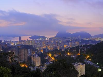 Twilight view over Laranjeiras towards Sugarloaf Mountain, Pereira da Silva, Rio de Janeiro, Brazil