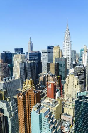 Manhattan skyline, Empire State Building and Chrysler Building, New York City, United States of Ame