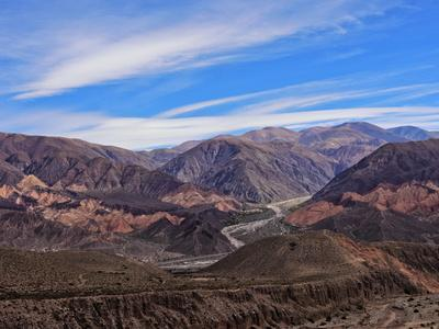 Landscape of surrounding mountains, Tilcara, Jujuy Province, Argentina, South America