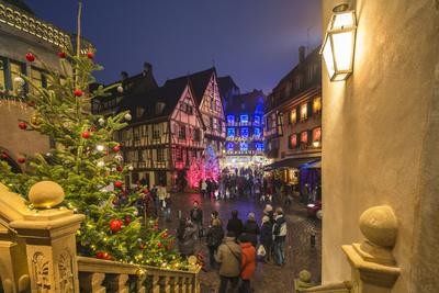Christmas Markets in the old medieval town enriched by colourful lights, Colmar, Haut-Rhin departme