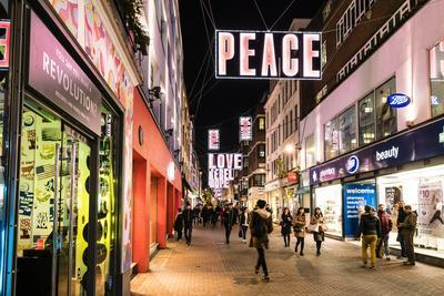 Alternative festive Christmas lights in Carnaby Street, Soho, London, England, United Kingdom, Euro