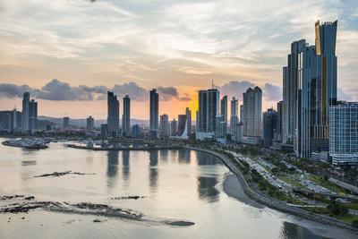 Skyline of Panama City at sunset, Panama City, Panama, Central America