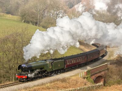 The Flying Scotsman steam locomotive arriving at Goathland station on the North Yorkshire Moors Rai