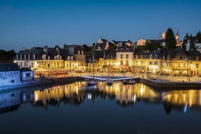 Saint-Goustan port at blue hour, Auray, Morbihan, Brittany, France, Europe