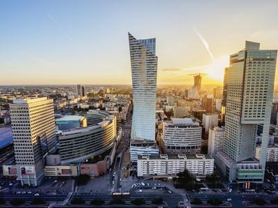 Skyscrapers at sunset, City Centre, Warsaw, Masovian Voivodeship, Poland, Europe