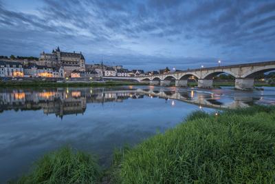 Castle and bridge at blue hour, Amboise, Indre-et-Loire, Loire Valley, Centre, France, Europe