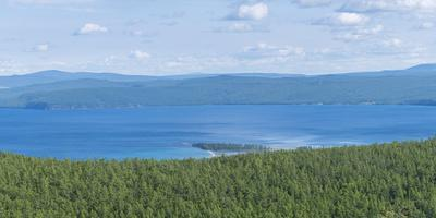 Taiga and Hovsgol Lake seen from above, Hovsgol province, Mongolia, Central Asia, Asia