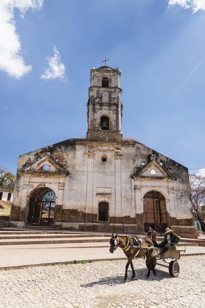 A horse-drawn cart known locally as a coche, Trinidad, UNESCO World Heritage Site, Cuba, West Indie