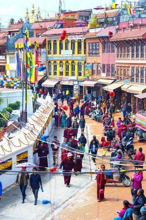 Buddhist pilgrims making the kora, Boudhanath Stupa, largest Asian Stupa, UNESCO World Heritage Sit