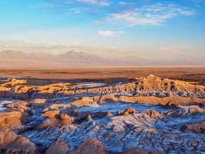 Valle de la Luna (Valley of the Moon) at sunset, near San Pedro de Atacama, elevated view, Atacama