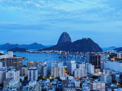View over Botafogo towards the Sugarloaf Mountain at twilight, Rio de Janeiro, Brazil, South Americ