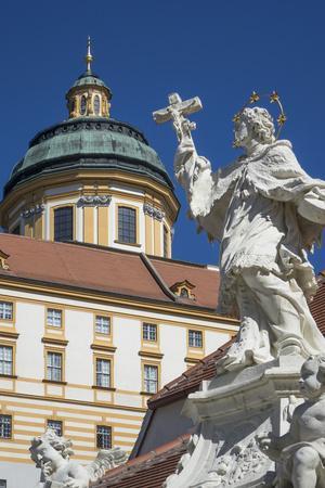 Johannes Nepomuk statue and Monastery, Melk, UNESCO World Heritage Site, Lower Austria, Austria, Eu