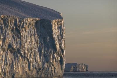 Polished walls of an iceberg in early evening light.