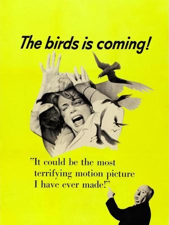 The Birds, Top: Tippi Hedren, Bottom Right: Alfred Hitchcock on CAnadian Poster Art, 1963