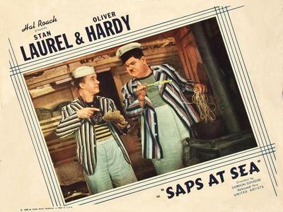 Saps at Sea, US Lobbycard, L-R: Stan Laurel, Oliver Hardy, 1940