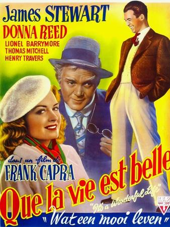 It's a Wonderful Life, (AKA Que La Vie Est Belle), on Belgian Poster Art, 1946