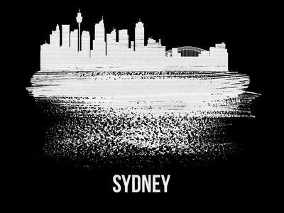 Sydney Skyline Brush Stroke - White
