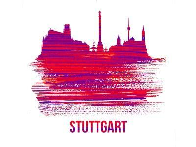Stuttgart Skyline Brush Stroke - Red