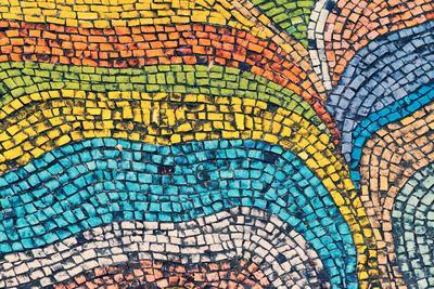 Detail of Beautiful Old Collapsing Abstract Ceramic Mosaic Adorned Building. Venetian Mosaic as Dec