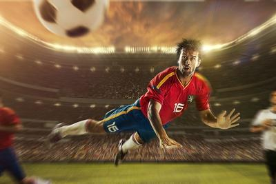 Soccer Player Heading Ball in Mid-Air, Brazil, South America
