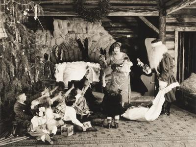 Children Receiving Christmas Presents from Santa Claus