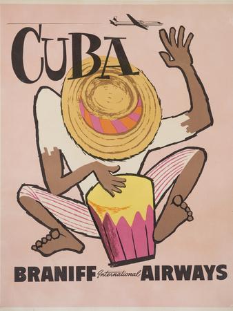 Cuba Braniff International Airways Poster