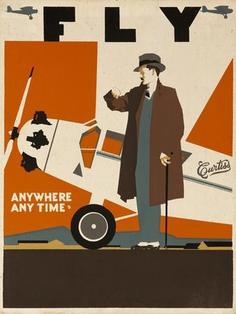 Fly Anywhere Any Time, 1930 Curtiss Aircraft Advertising Poster