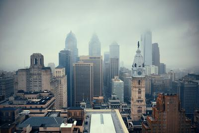 Philadelphia City Rooftop View with Urban Skyscrapers.