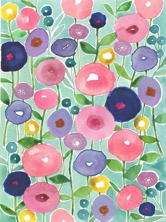 Poppies in Bloom on Aqua Background