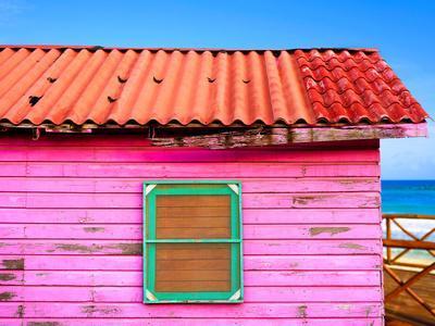 Mahahual Caribbean Pink Wood Painted Wall Textures in Costa Maya Mexico
