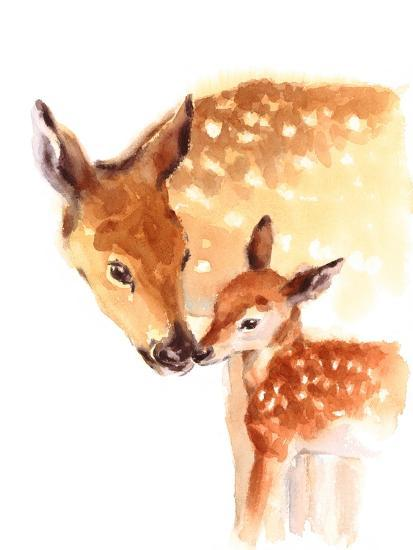 Mother And Baby Deer Watercolor Poster By Cmwatercolors At