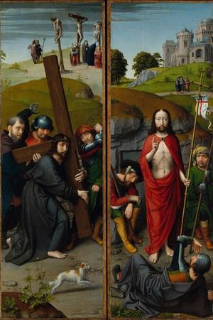 Christ Carrying the Cross, with the Crucifixion; The Resurrection, with Pilgrims of Emmaus, 1510