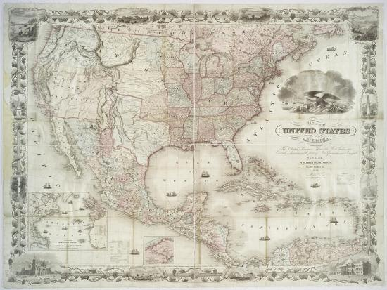 Map Of The United States 1850.Map Of The United States British Provinces Mexico West Indies And