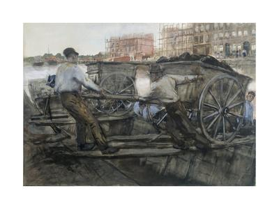 Labourers Pulling a Heavily Laden Cart on Jacob van Lennepkade, Amsterdam, 1900