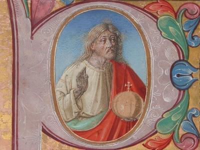 Manuscript Illumination with Salvator Mundi in an Initial P, from a Choir Book