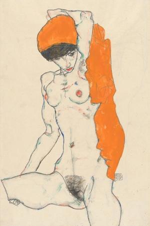 Standing Nude with Orange Drapery, 1914