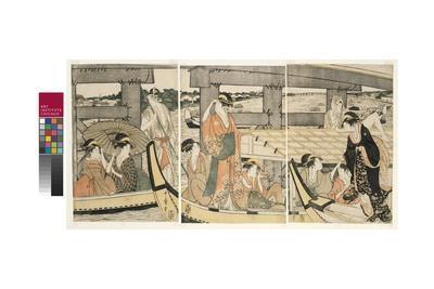 On top and beneath Ryogoku Bridge , c.1795-96