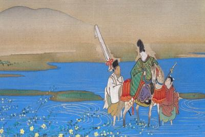 Male courtier on horseback crossing river, c.1839