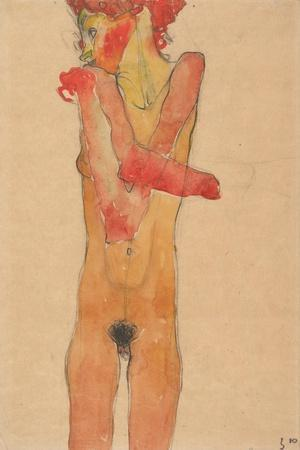 Girl nude with folded arms, 1910