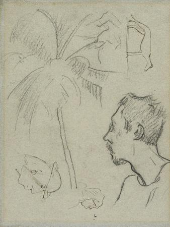 Profile of Charles Laval with Palm Tree and Other Sketches , 1887