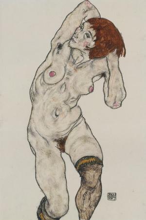Standing Nude in Black Stockings, 1917