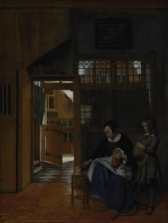 A Woman Preparing Bread and Butter for a Boy, c.1660-3