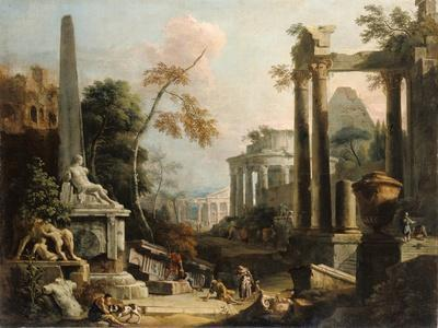 Landscape with Classical Ruins and Figures, c.1725-30