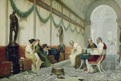 Interior of Roman Building with Figures, c.1880