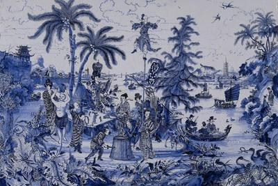 Plaque with a Chinoiserie landscape and gilt details, c.1680