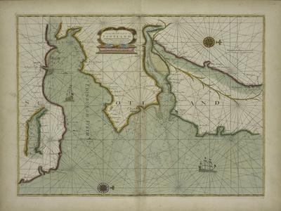 A chart of the East coast of Scotland from a sea atlas, 1707