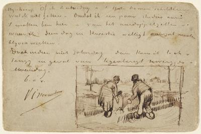 Postcard with Two Peasants Digging, 1885