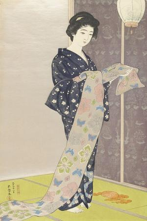 Young woman in a summer kimono,1920