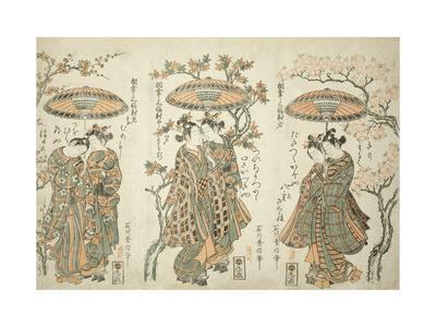 Sharing an Umbrella - A Set of Three , c.1755